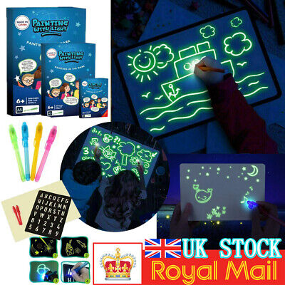 Kids Light Up Drawing Fluorescent Magic Writing Board Kit Fun And Developing Toy