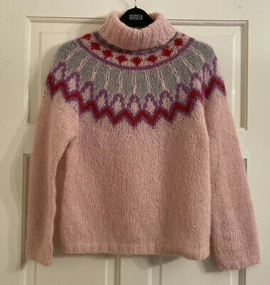 Vintage 80s Women's Knit Pale Pink Nordic Fair Isle Roll Neck Jumper Small S 8