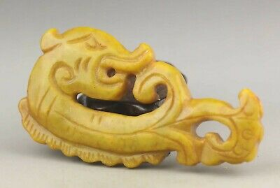 Chinese old natural jade hand-carved statue dragon pendant 3.9 inch
