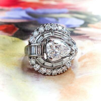 3.86 Ct Vintage Near White Pear Moissanite Engagement Ring 925 Sterling Silver