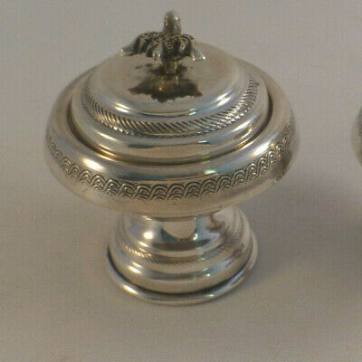 Great Egyptian Sterling Figural Top Covered Salt Cellar(s)- 2 1/2""