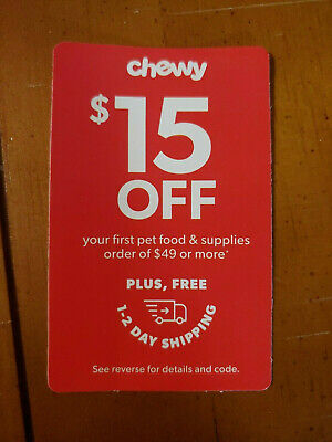 ➡️ FAST CODE! CHEWY—$15 OFF First Order of $49–chewy.com