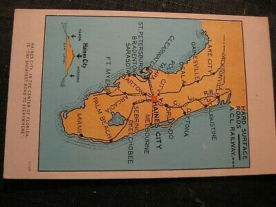 Old Postcard ACL Atlantic Coast Line Railroad Map Florida Haines City junction