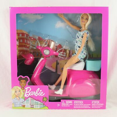 Barbie Pink & White Scooter Moped w/Blue Basket BRAND NEW SEALED