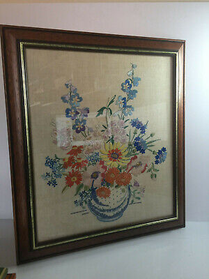 Vintage Framed Cross Stitch Tapestry Picture of Flowers in Vase Embroidered