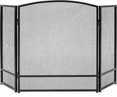 NEW HOMEBASIX 0364760 4 PANEL METAL BLACK STOVE FIREPLACE SCREEN ARCH 32 X 52
