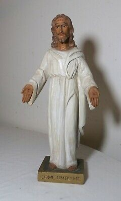 vintage religious Jesus Christ hand carved wood sculpture statue Santos folk art