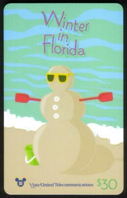 $30. Winter In Florida - Christmas 1995 (With Carrier) Beach Snowman Phone Card