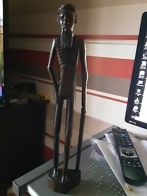 Tall hand carved old man wooden African standing Tribal figure 348mm tall