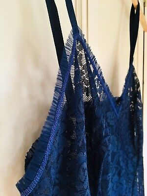 RETRO VTG 50's St Michael DEEP BLUE LACE FEMININE FULL SLIP DRESS PIN UP Bt40""