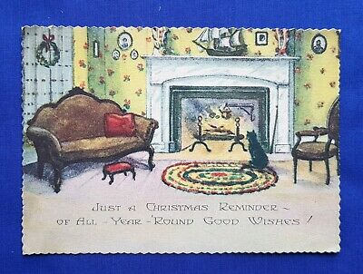Antique Vintage Early 20th Century Christmas Postcard Card - Fireside Scene