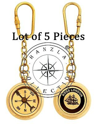 Marine Polished Brass Compass Keychain Nautical Maritime Lot of 5 Pieces Keyring