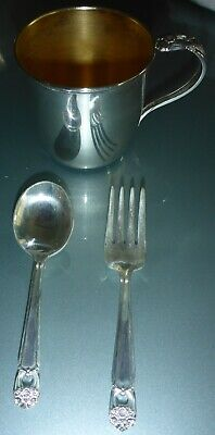Vintage 1847 Rogers Bros. First Love Silver Plated Baby Cup W/ Baby Spoon & Fork