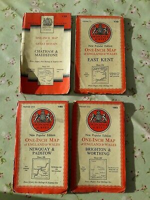 ORDNANCE SURVEY LINEN BACKED Map and 3 paper ones.1940's and 50's.good condition
