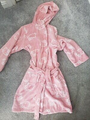 Hello Kitty Hooded Dressing Gown Age 7-8 Marks And Spencer Pockets