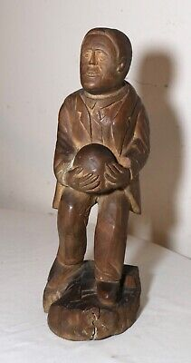 antique 1800's Folk Art hand carved wood figural man sculpture statue figure
