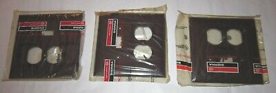 3 Brown Ribbed Sierra Combo Wall Plates 1 Toggle 1 Duplex Outlet NEW OLD STOCK