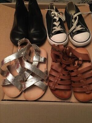Childs Girls Shoes Bundle Uk 8 To 10 Converse Boots Sandals Zara Good Condition