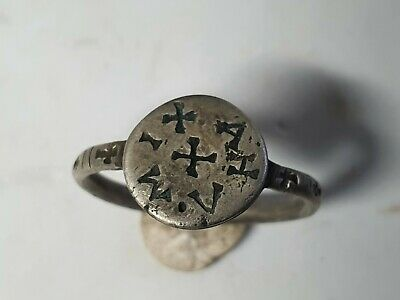 Medieval -Crusaders Silver Ring  10th, 12th Century AD
