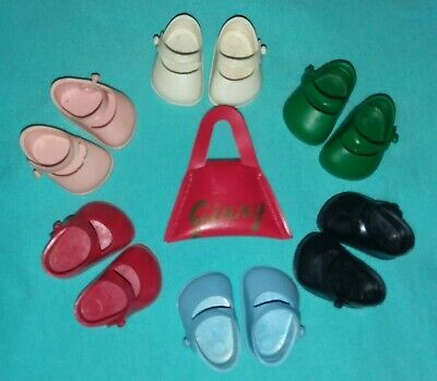 Vintage Vogue Ginny Doll Shoe Lot All Marked & Purse Fits Ginger Muffie Alex Exc