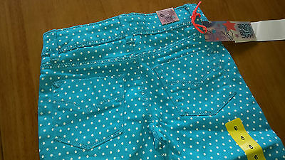 AGE 5 - Girls cropped jeans / trousers in turquoise Polka dot BNIP BNWT