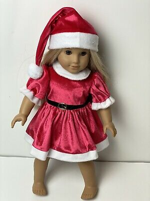 Christmas Santa Dress Hat Outfit Clothes Velour fits American Girl Doll 18 Inch