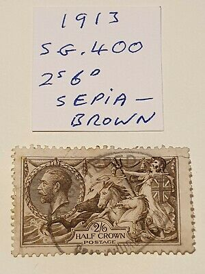 Gb stamps Kg V 1913 2s6d sepia-brown seahorse sg 400 nice used