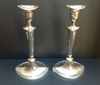 Pair Tall Sheffield Plate Silver on Copper Victorian Candlesticks c1800