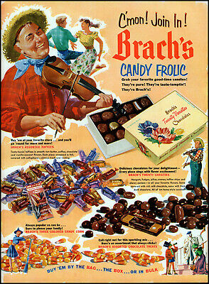 1952 Brach's candy frolic country hoedown dance candy vintage art Print Ad adL2