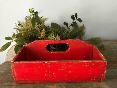 Antique Primitive Large Wood Carrier Old Xmas Red Paint Canted Utility Box AAFA