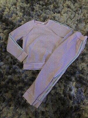 Next Girls Lilac Shimmer Tracksuit Joggers Jumper Age 8 Fab Condition
