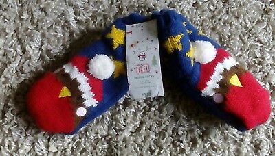 Mothercare Baby Boys Girls Christmas Slipper Socks Age 1/2 Years Robin Cosy Warm