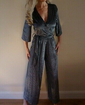 New with Tags Zara Ribbed Knit Silver Grey Fitted Christmas Jumpsuit S UK 8 10