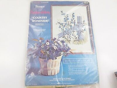 Vintage Paragon Needlecraft Country Roadside Crewel Embroidery Kit NEW 18X24""