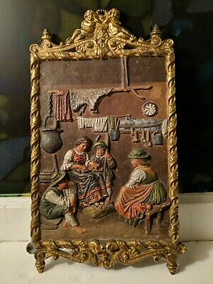 Antique Cast BRADLEY & HUBBARD Easel Back Ornate Victorian Wall Plaque #1813