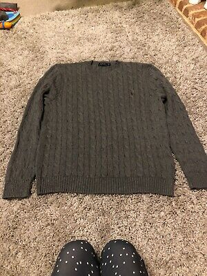 Polo Ralph Lauren Grey Cable Knit Jumper Sweater Men's Size XL Crew Neck - 46""