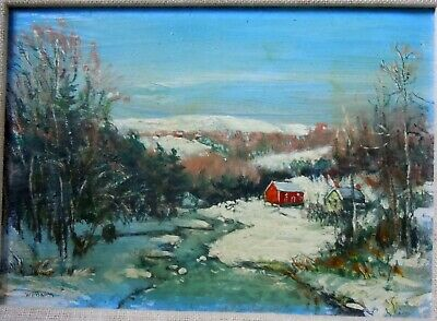 Walter Emerson Baum Oil Painting Winter Landscape W River Red Mill Yellow House