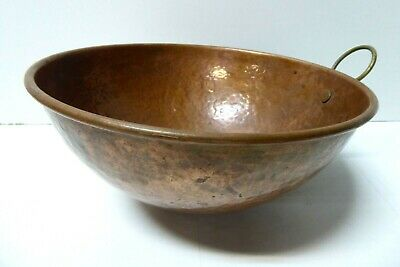 Antique Copper Hand Beaten Hammered Mixing Bowl Cooking Pot French Provincial