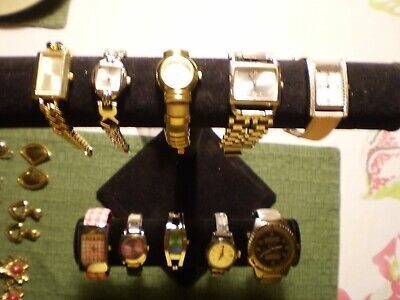 #7 Lot 10 Of Costume Watches Nautica Hilfiger Gruen Gucci Fossil Geneva Foxy