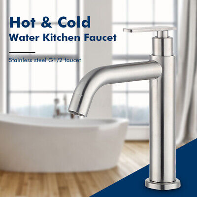 Stainless Steel Kitchen Faucet Sink Faucet Solid Brass Free Mixer Bathroom ☆