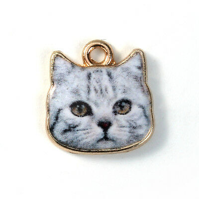 Cute Black & White Kitty Cat Face Enameled Gold 13mm Traditional Charm 1 piece