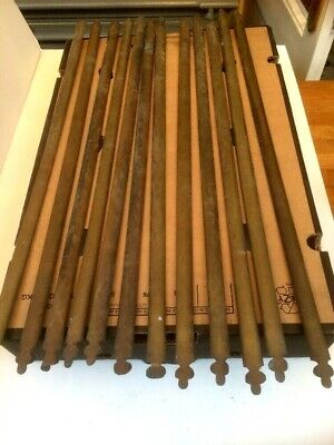 VICTORIAN ARTS CRAFTS ANTIQUE BRASS CARPET RODS FOR STAIRS 12 x 26-27""