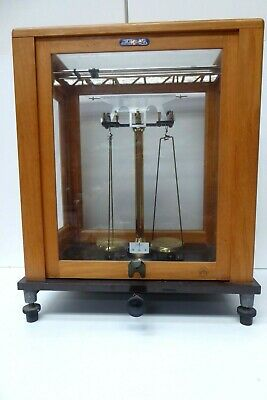 Vintage German Brass Metal Scientific Balance Scales Timber Glass Case Laborato