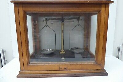 Vintage Griffin George Brass Metal Scientific Balance Scales Timber Glass Case