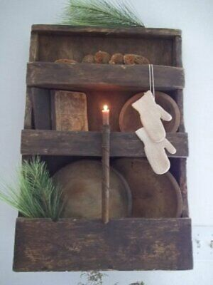 Primitive aged tin single candle mold candle holder w/candle stub~early lighting