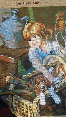Unworked Tapestry-- Young Girl And Dogs  Holiday Project?