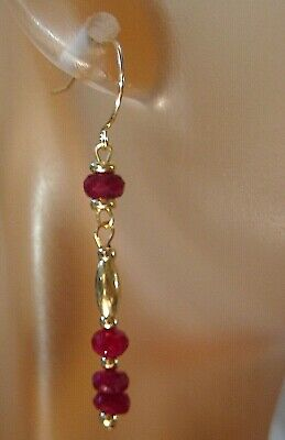 Pretty Pair Solid 14KT Yellow Gold Faceted Natural Longido Ruby Dangle Earrings