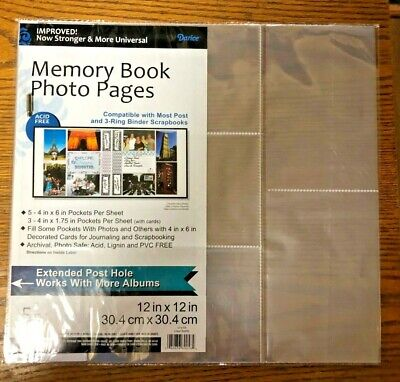 4 Packs Memory Book Photo Pages 5 Pc Each 12 In X 12 In 8 Pockets Per Sheet
