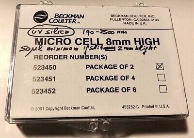 Beckman Coulter Spectrophotometer Micro Cell 8mm High #523450 Package of 2