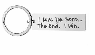 I Love You More The End I Win Stainless Steel Keyring / Key Tag Organiser